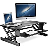 LITTLE TREE 32in Standing Desk, MDF Height Adjustable Stand Up Desk Riser with Wide Keyboard Tray,Gas Spring Hovering System for Dual Monitor (32in/Black Finish)