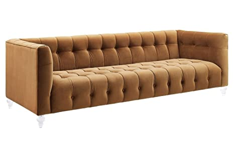Tov Furniture The Bea Collection Modern Style Velvet Upholstered Living  Room Sofa with Lucite Legs, Cognac