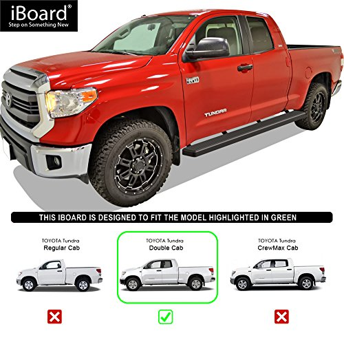 Nerf Bars Running Boards Step Rails for 2007-2018 Toyota Tundra Double Cab Pickup 4-Door Black Powder Coated 5 inches Side Steps iBoard
