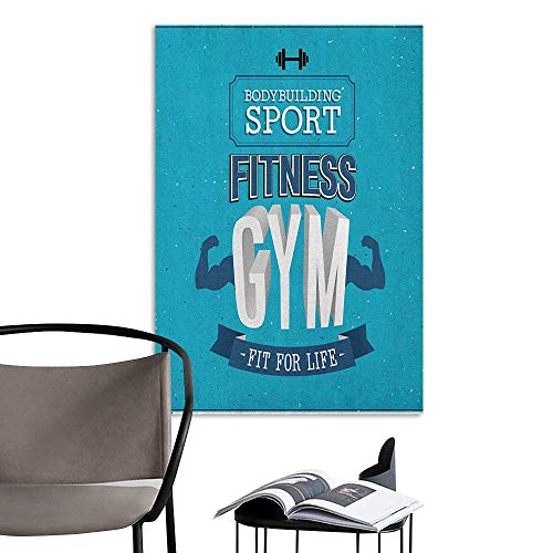 Waterproof Art Wall Paper Poster Fitness Fit for Life Bodybuilding Sport Biceps Sportsman Athletic Muscular Form Blue Dark Blue White Art Mural Decals W20 x H28