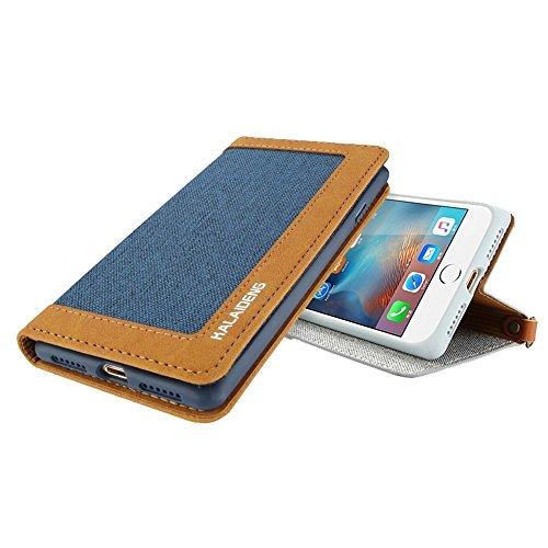 MXNET IPhone 7 Plus Case, Leinen Leder + TPU Horizontale Flip Leder Tasche mit Card Slots & Halter & Lanyard CASE FÜR IPHONE 7 PLUS ( Color : Blue )