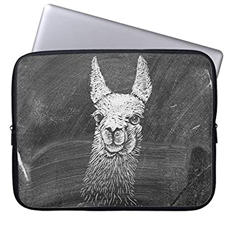 "longdong 15 ""Blanco Y Negro Vintage Funny Llama animal art dibujo ordenador mangas Slim"