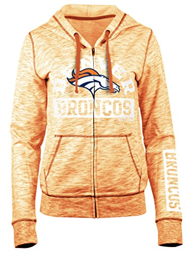 (A-Team Apparel NFL Denver Broncos Women's Space Dye French Terry Hoodie, Orange, Medium)