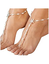Gprince 2pcs Women Fashion Rhinestone Barefoot Sandals Starfish Elastic Foot Chain Alloy Anklet