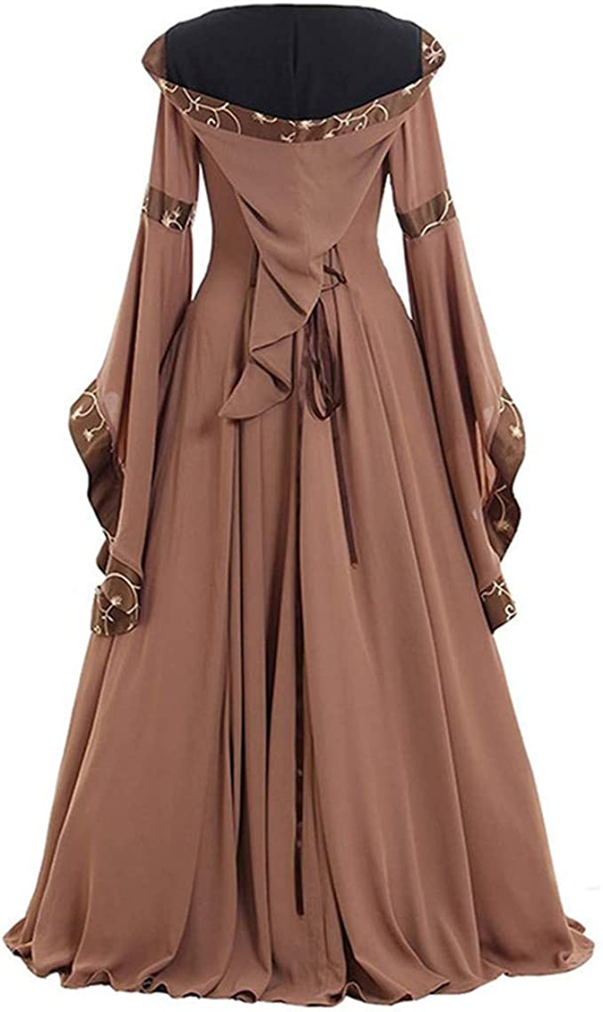 HGWXX7 Womens Dress Celtic Medieval Gothic Cosplay Costume Renaissance Long Sleeve Floor Length Cocktail Party Dresses