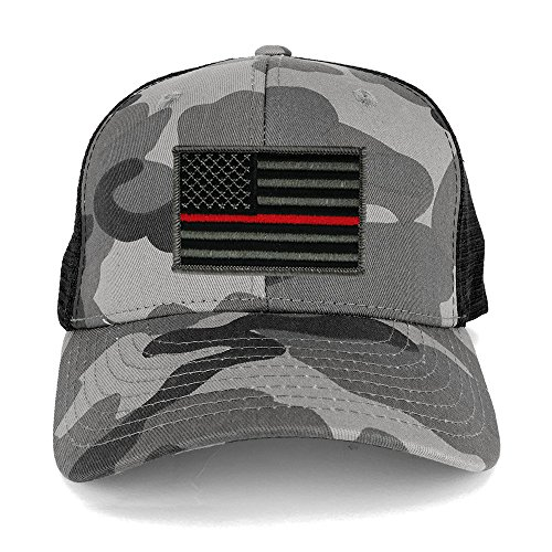 US American Flag Embroidered Iron on Patch Adjustable Urban Camo Trucker Cap - UUB - Thin - Urban Red Camo