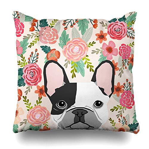 InnoDIY Throw Pillow Covers Beautyzan French Bulldog Pet Portrait Cute Frenchie Puppy Pillowslip Square Size 16 x 16 Inches Cushion Cases Pillowcases