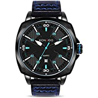 KONXIDO Mens Leather Wrist Watch, Analog Quartz Classical Casual Watches for Men, Teens, Boys, 30M Waterproof, Comfortable Genuine Leather Band, Auto Date Blue