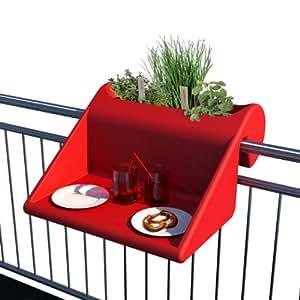 rephorm balkonzept: Balcón Mesa con integrado Jardinera/rojo