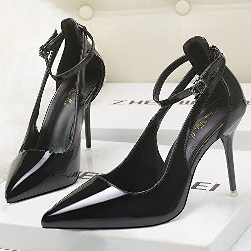 de Sangle Cheville Creux Boucle Pointu Xianshu Chaussures Talons à Vernis Hauts Pompes Noir Sandales Bout Escarpins XY10HX
