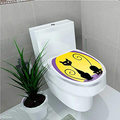 aolankaili Bathroom Toilet Two Black Kitties in Front of Full Moon Starry Night Halloween Image Violet W13 x L13]()