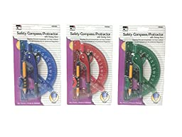 Charles Leonard Safety Compass & Swing Arm 6 Inch Protractor, Assorted Colors, 1 Set/Card, 12 Cards (80965-ST)