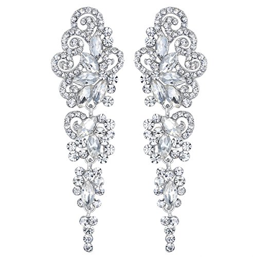 mecresh Drop Crystal Earrings for Women or Wedding, Women's GIFT for Girl or Bride by mecresh