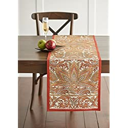 Maison d' Hermine Kashmir Paisley 100% Cotton Table Runner 14.5 Inch by 72 Inch. Perfect for Thanksgiving and Christmas