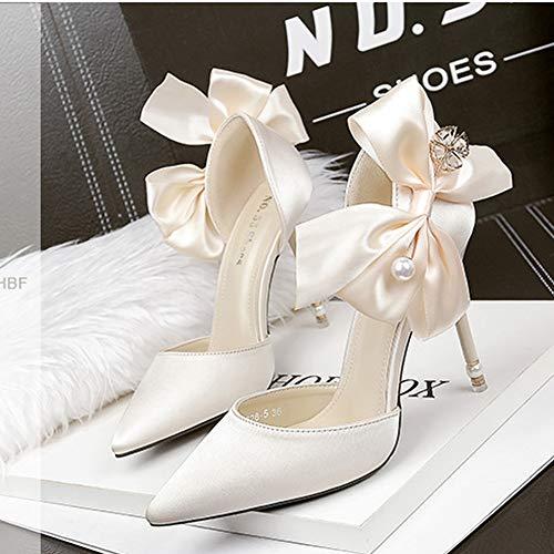 A Peu Perle Hlg Profonde Stiletto Talons Simples Souligné Hauts Satin Coréen Bouche De Mariage Bow Chaussures Gray Sexy gxwFx5