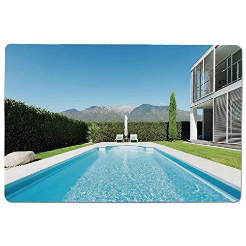 - SCOCICI Gaming Locking Mouse Pad,Modern Villa with Pool View from The Garden Real Estate Contemporary Property Customized Rectangle Non-Slip Rubber Mousepad Gaming Mouse Pad 23.6