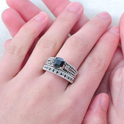 Women 925 Sterling Silver 2 PCS Cushion Cut Black Cubic Zirconia CZ Diamond Bridal Wedding Ring Set