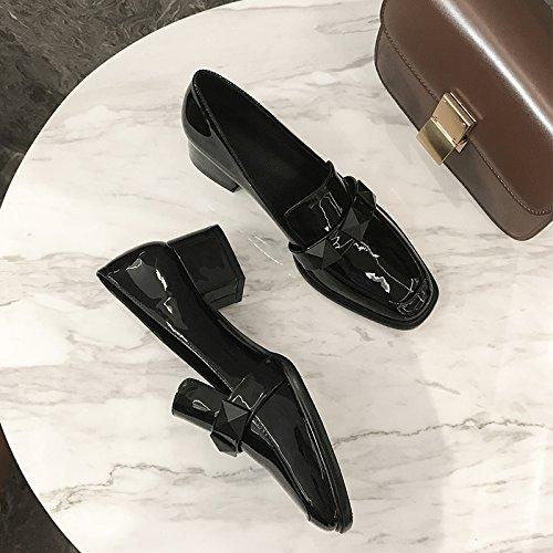 Xue Qiqi Court Schuhe Kopf des Wilden mit Quadrats mit Wilden Dem Flachen Mund beschlägt die Frau die mit Den Faulen Weiblichen Schuhen der Füße Dick ist d17276