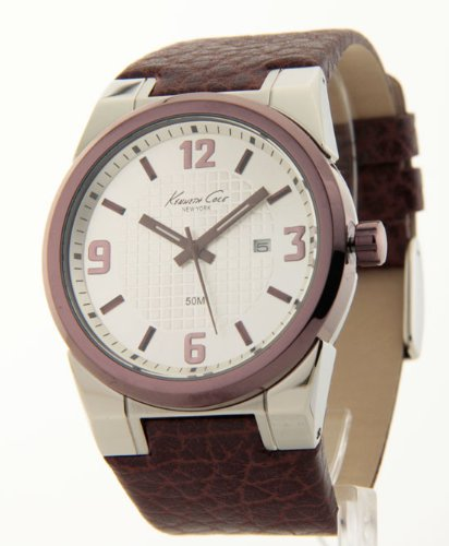Kenneth Cole New York Leather Collection Silver Dial Men's watch #KC1338BNIP