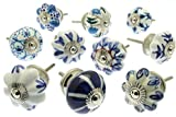 Artncraft 10 Ceramic Door Knobs 1.5''Diameter And 1''In Depth Blue & White