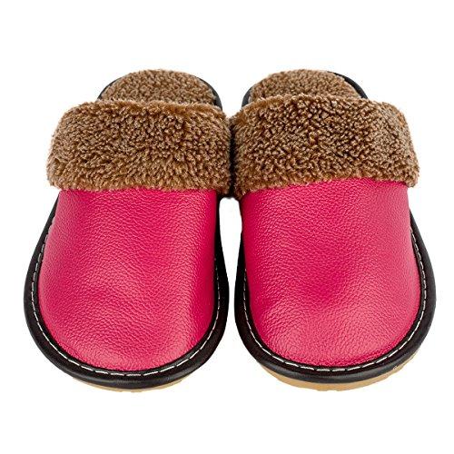 Haisum 8812-w - Zapatillas de estar por casa de piel vacuna para hombre rosa (b)