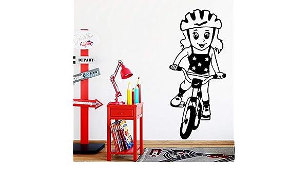 BailongXiao Arte Bicicleta Chica Pared Pegatina PVC extraíble bebé ...