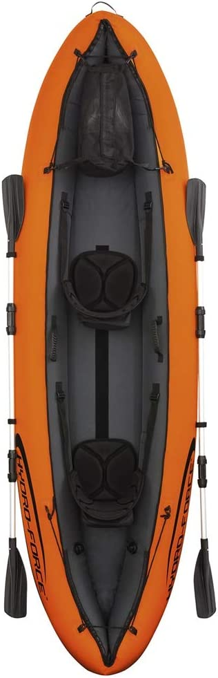 BoeWan Durability Inflatable Kayaks Durable Drifting Inflatable Boat Rubber Rowing Double Canoe Two-Person Ship Propeller Air Pump Color : Orange, Size : 330/×94CM