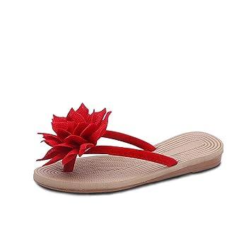 61083cca976a2b NEARTIME Women s Flip Flops Fashion Summer Roma Flower Flat Sandals  Anti-Slip Beach Slipper Outdoor
