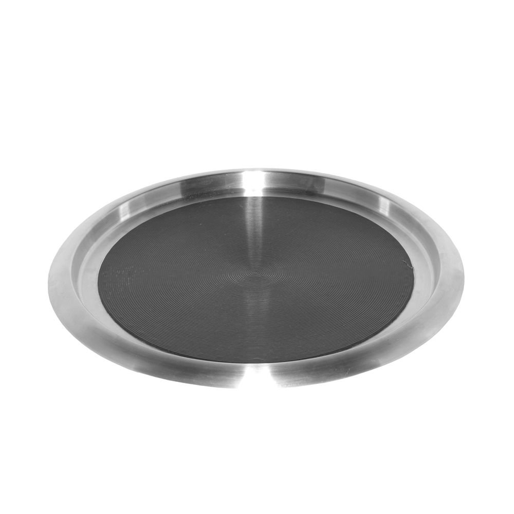 Service Ideas TR1614SR Tray, 18/8 Stainless Steel, Solid Rubber, 16'' x 14''