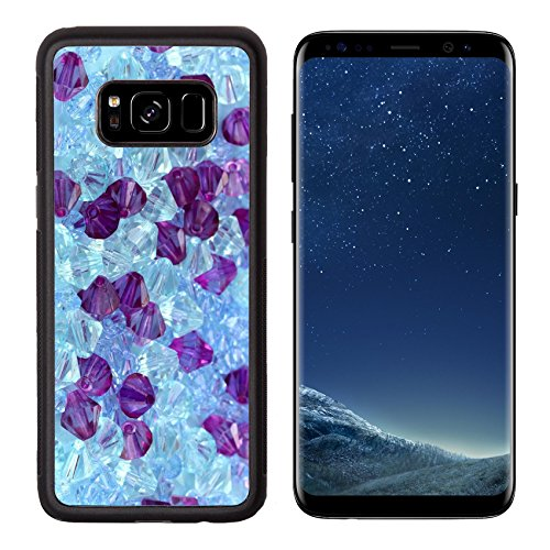 Luxlady Premium Samsung Galaxy S8 Aluminum Backplate Bumper Snap Case IMAGE ID: 20929920 Gem stones close up