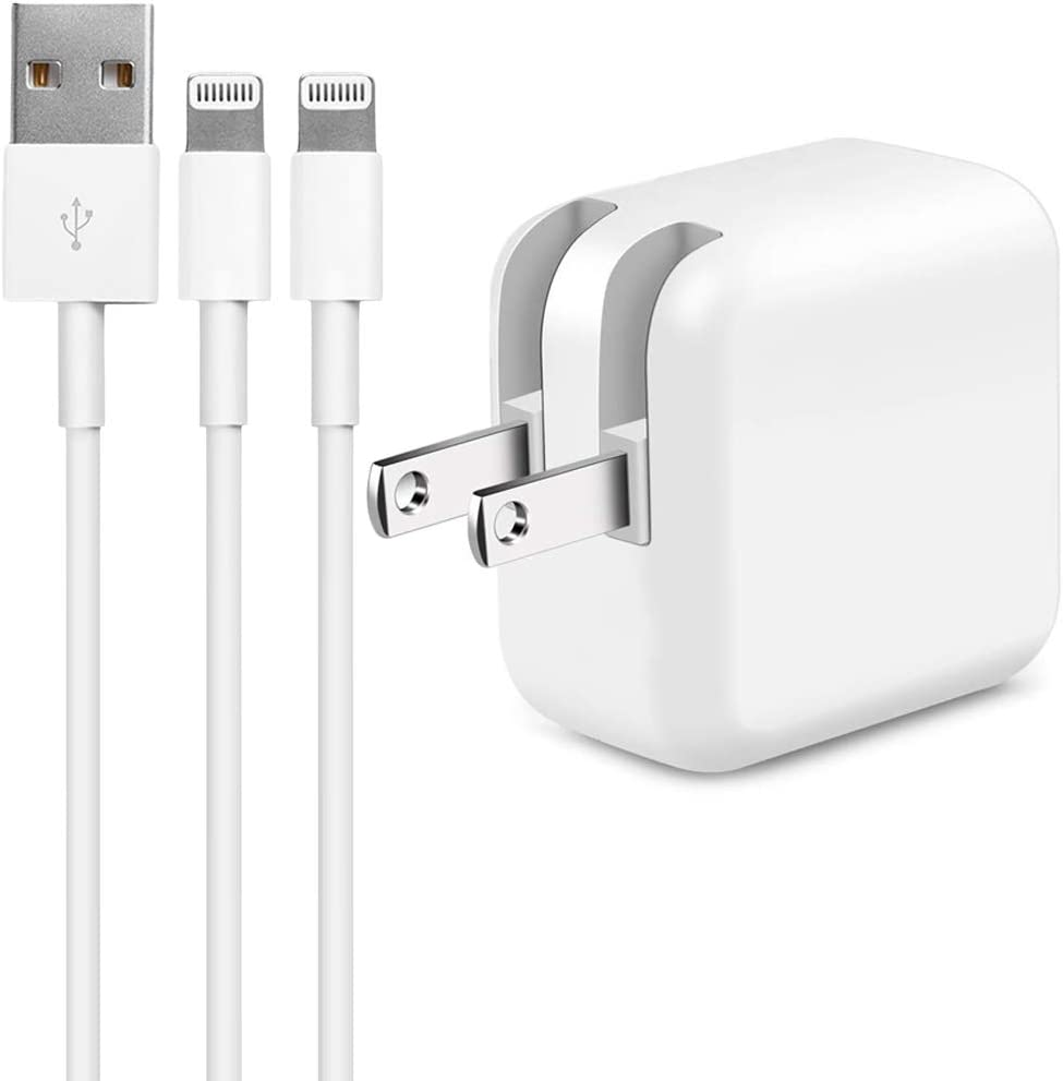 iPad Charger,Original 2.4A 12W USB Wall Charger Foldable Portable Travel Plug and 2 Pack Charging Cable Compatible with iPhone,iPad,iPod(White/3.3ft)