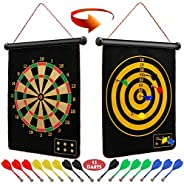 Ranslen Magnetic Dart Board for Kids and Adults, Boy Gifts Toys, Double Sided Board Games Set, Indoor Outdoor