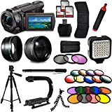 Sony FDR-AX53 4K HD Handycam Camcorder Video Camera + Tripod + Monopod + Light + Bag + Case + Lense + Mega Accessories Bundle Kit