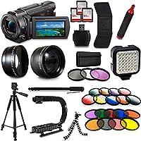 Sony FDR-AX53 4K HD Handycam Camcorder Video Camera + Tripod + Monopod + Light + Bag + Case + Lense + Mega Accessories Bundle Kit