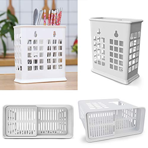 Chopsticks and Straws Holder Basket for Dishwashers - Hold Chopsticks, Straws, and other Utensils Without Falling Through (White)