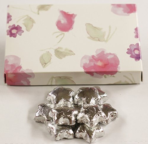 Scott's Cakes Silver Foil Wrapped Solid Milk Chocolate Stars in a 8 oz. Pastel Flower Box