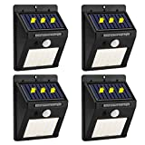 20 Led Solar Lights Outdoor Motion Sensor,Solar Lights Led Wireless Waterproof Motion Sensor Security Outdoor Light for Garden,Yard,Wall,Patio,Deck,Steps (4-Pack)