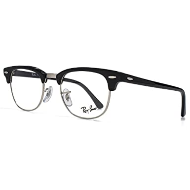 325e02cb75 Ray-Ban Clubmaster Glasses in Shiny Black 49 Clear: Amazon.es: Deportes y  aire libre