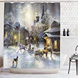 Art Deco Shower Curtain Ambesonne Country Decor Shower Curtain Set, Winter Landscape of a Western Town at Night in New World Rurals in Retro Style Art Print Deco, Bathroom Accessories, 75 Inches Long, Gray Yellow
