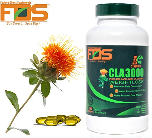 Cla Safflower Oil For Healthy Weight Loss and Belly Fat -NonGMO- Pure CLA 3000 Milligram,120 Softgels-Highest Grade Safflower Oil Available in the Market-Increase Lean Muscle-Perfect for Men and Women