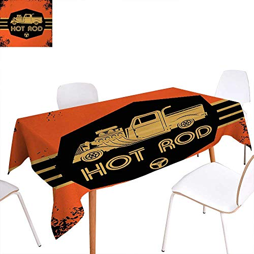 """Warm Family Retro Customized Tablecloth Hot Rod Grunge Poster Design with Custom Truck Americana Vintage Engine Stain Resistant Wrinkle Tablecloth 60""""x84"""" Orange Black Sand Brown from Warm Family"""