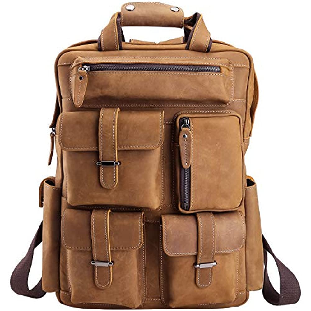 Details about Polare Mens Backpacks Handcrafted Real Leather Vintage Laptop  Shoulder Bag Large a450b32944e55