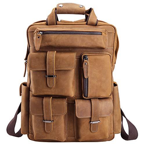 (Polare Mens Handcrafted Real Leather Vintage Laptop Backpack Shoulder Bag Travel Bag Large)