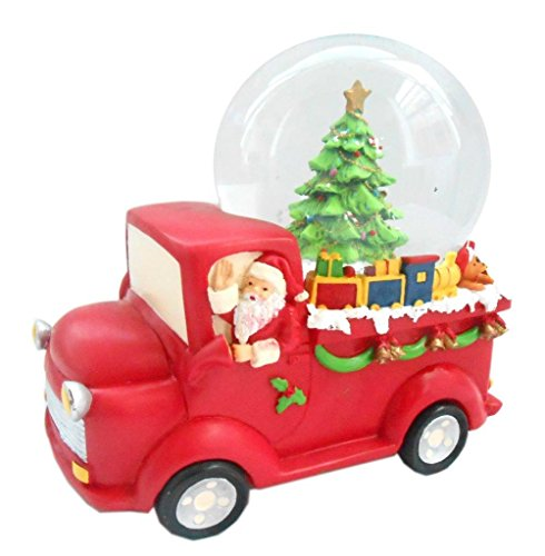 Lightahead Musical Christmas Santa Driving Truck Figurine Water Ball, Snow Globe with The Figurine Revolving in Poly Resin