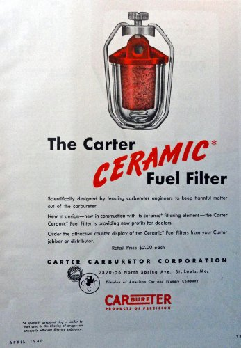 (Carter Carburetor, 40's, full page color Illustration, 8 1/2
