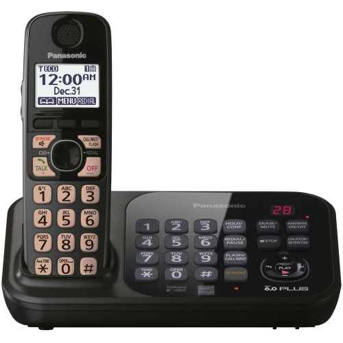 Panasonic KX-TG4741B DECT 6.0 Cordless Phone with Answering System, Black, 1 Handset (Phone Series Dect Cordless)
