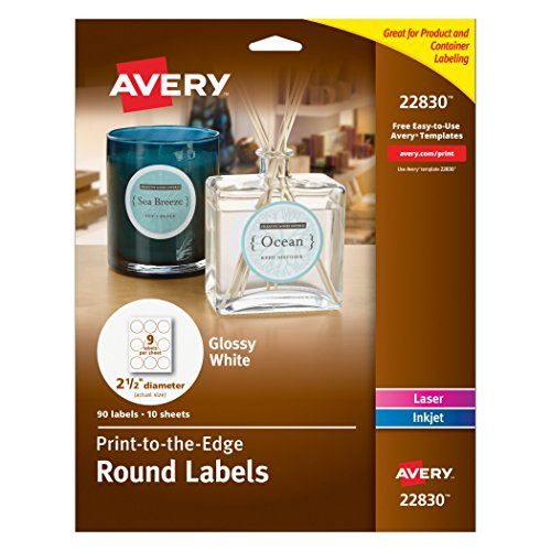 Avery Print - To - The - Edge Round Labels, Glossy White, 2.