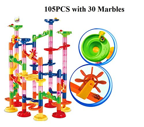 Quadrilla Twist Marble (Marble Run Super Set 105pcs Railway Games STEM Learning Toy Gift for Kids 4 5 6 + Year Old Boys Girls)