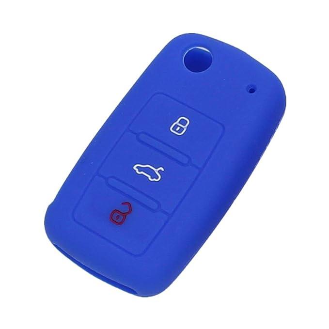 Llavero Funda Protectora Tapa de Clave C/áscara Fob Remoto Silicona Coche para VW Volkswagen Jetta Passat Rosa