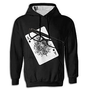 YUANSHAN Men's Sweatshirt 3D Print Hoodies with Pockets Pullover Hooded Sunglass Poker Peach Hoody
